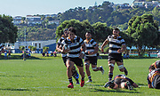 MANA, NEW ZEALAND - 23 MARCH: Action during the rugby union game played on 23 March  2019, between Paremata-Plimmerton  v Oriental-Rongotai, played at Ngatitoa Domain, Mana, Wellington, New Zealand.  Final score 57-0 to Oriental Rongotai.