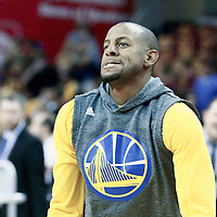10 June 2016:  Golden State Warriors forward Andre Iguodala (9) warms up prior to Game Four of the 2016 NBA Finals at the Quicken Loans Arena, Cleveland, Ohio, USA.