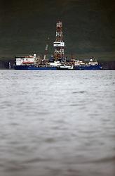 USA ALASKA BERING SEA 4AUG12 - Shell-contracted drill ship Noble Discoverer anchored  near Dutch Harbor, Unalaska, Alaska.....Photo by Jiri Rezac / Greenpeace....© Jiri Rezac / Greenpeace