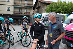 Last minute advice for Abigail van Twisk (GBR) of Drops Cycling Team by DS Paul Freeman before Stage 4 the Emakumeen Bira - a 58 km road race, between Etxarri Aranatz and San Miguel on May 20, 2017, in Basque Country, Spain. (Photo by Balint Hamvas/Velofocus)