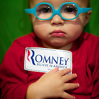 Bennett Johnston, 1 year old, stis in his stroller after attending Republican Presidential candidate Mitt Romney rally at University of South Carolina Aiken with this mother.  The South Carolina primary will be held on January 21st.