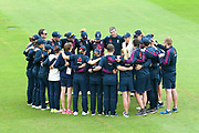 The England team huddle together for a team talk ahead of the International Test Match 2019 match between England Women Cricket and Australia Women at the Cooper Associates County Ground, Taunton, United Kingdom on 18 July 2019.