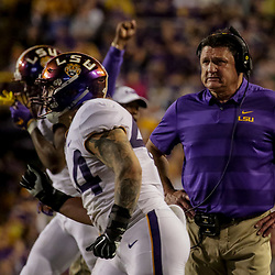 Oct 20, 2018; Baton Rouge, LA, USA; LSU Tigers head coach Ed Orgeron during the second half against the Mississippi State Bulldogs at Tiger Stadium. LSU defeated Mississippi State 19-3. Mandatory Credit: Derick E. Hingle-USA TODAY Sports
