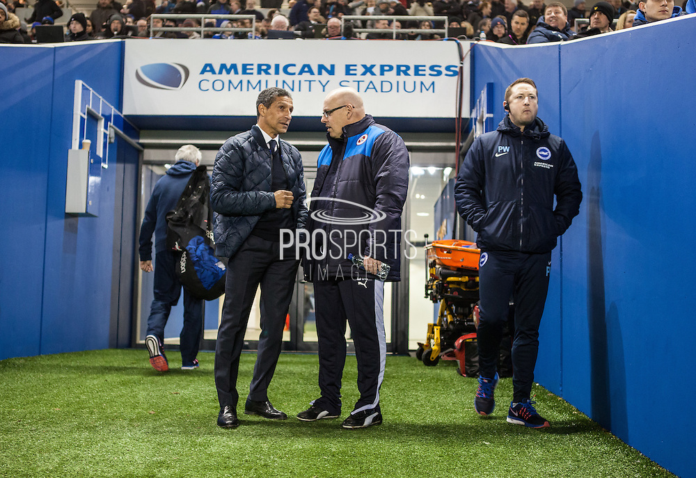 Chris Hughton & Reading first team manager Brian McDermott in discussion before kick-off at the Sky Bet Championship match between Brighton and Hove Albion and Reading at the American Express Community Stadium, Brighton and Hove, England on 15 March 2016. Photo by Bennett Dean.