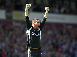 WEST BROMWICH, ENGLAND - Saturday, August 18, 2012: West Bromwich Albion's goalkeeper Ben Foster celebrates the third goal against Liverpool during the opening Premiership match of the season at the Hawthorns. (Pic by David Rawcliffe/Propaganda)