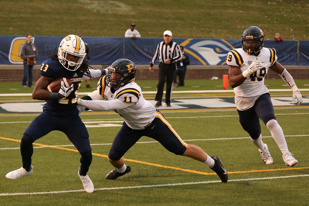 November 18, 2017 - Chattanooga, Tennessee - Finley Stadium: ETSU linebacker Trey Quillin (11), ETSU defensive lineman Jason Maduafokwa (49)<br /> <br /> Image Credit: Dakota Hamilton/ETSU
