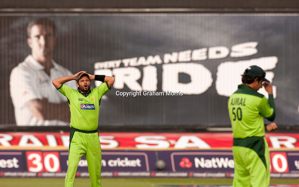 Captain Shahid Afridi during the first T20 international between England and Pakistan in Cardiff.  Photo: Graham Morris (Tel: +44(0)20 8969 4192 Email: sales@cricketpix.com) 05/09/10