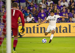April 21, 2018 - Orlando, FL, U.S. - ORLANDO, FL - APRIL 21: San Jose Earthquakes defender Nick Lima (24) shoots on goal during the MLS soccer match between the Orlando City FC and the San Jose Earthquakes at Orlando City SC on April 21, 2018 at Orlando City Stadium in Orlando, FL. (Photo by Andrew Bershaw/Icon Sportswire) (Credit Image: © Andrew Bershaw/Icon SMI via ZUMA Press)