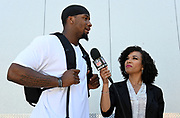 May 3, 2019; Alameda, CA, USA; Oakland Raiders defensive end Clelin Ferrell (left) is interviewed by NFL Network reporter MJ Acosta during rookie minicamp at the Raiders practice facility.