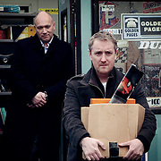 Fair City Eps 63<br /> TX:  Sunday, 14th April, 2013<br /> An unemployed Wayne leaves the garage<br /> L-R<br /> Paul - Tony Tormey<br /> Wayne - Victor Burke