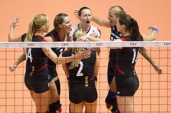 02.10.2011, Hala Pionir, Belgrad, SRB, Europameisterschaft Volleyball Frauen, Finale, Deutschland (GER) vs. Serbien (SRB), im Bild Jubel Deutschland: Margareta Kozuch (#14 GER / Sopot POL), Angelina Grün / Gruen (#7 GER / Aachen GER), Kathleen Weiß / Weiss (#2 GER), Kerstin Tzscherlich (#4 GER / Dresden GER), Maren Brinker (#15 GER / Pesaro ITA), Christiane Fürst / Fuerst (#11 GER / Istanbul TUR) // during the 2011 CEV European Championship, Final at Hala Pionir, Belgrade, SRB, Germany vs Serbia, 2011-10-02. EXPA Pictures © 2011, PhotoCredit: EXPA/ nph/  Kurth       ****** out of GER / CRO  / BEL ******