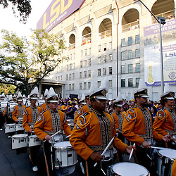Sep 25, 2010; Baton Rouge, LA, USA; The LSU Tiger Band performs on Victory Hill outside prior to a game between the LSU Tigers and the West Virginia Mountaineers at Tiger Stadium.  Mandatory Credit: Derick E. Hingle