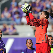 Seattle Reign FC goalkeeper Hope Solo (1) makes a save during a NWSL soccer match against the Orlando Pride at Camping World Stadium on May 8, 2016 in Orlando, Florida. (Alex Menendez via AP)