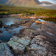 Morning light over Creise at the northern end of Glencoe with the River etive in the foregraound