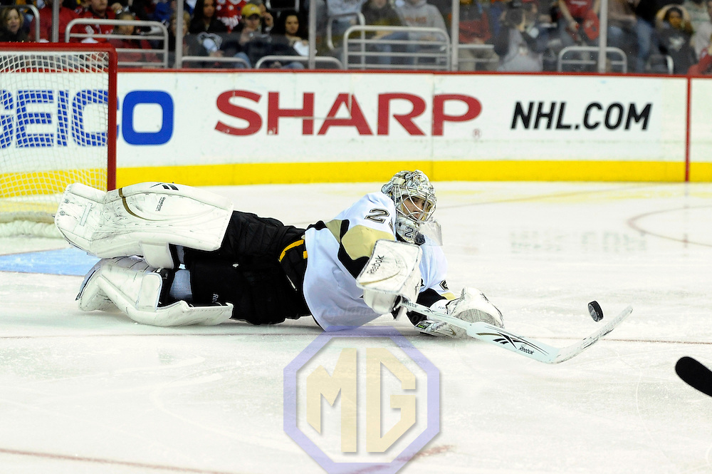 22 February 2009:  Pittsburgh Penguins goalie Marc-Andre Fleury (29) dives out of the goalie box to make a save on short handed shot by Washington Capitals center Brooks Laich (21) in the 2nd period at the Verizon Center in Washington, D.C.  The Capitals defeated the Penguins 5-2.