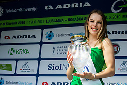 Hostess with a trophy at trophy ceremony  during 1st Stage of 26th Tour of Slovenia 2019 cycling race between Ljubljana and Rogaska Slatina (171 km), on June 19, 2019 in  Slovenia. Photo by Vid Ponikvar / Sportida