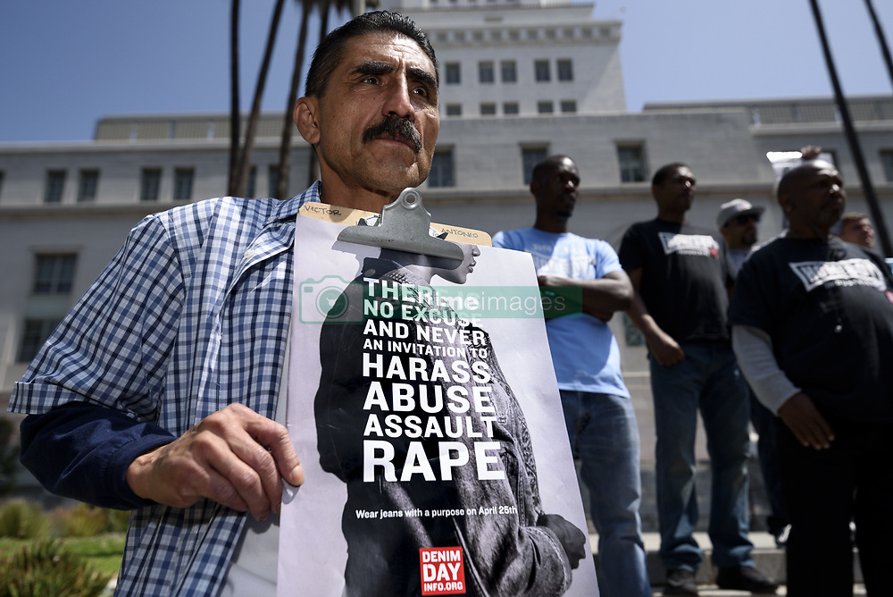 April 25, 2018 - Los Angeles, California, United States - People participate in Denim Day to raise awareness about rape and sexual assault. Los Angeles, California on April 25, 2018. (Credit Image: © Ronen Tivony/NurPhoto via ZUMA Press)