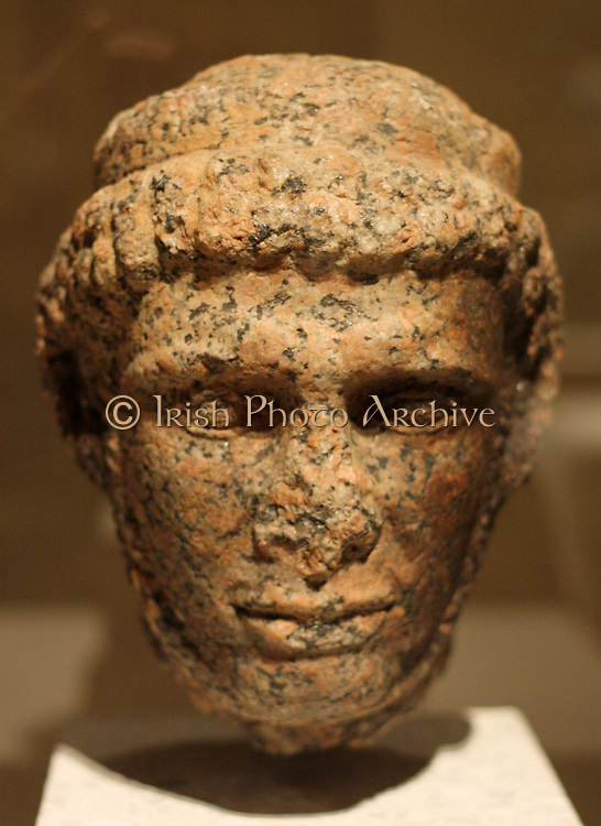 Head of a statue of king Ptolemaios X. Ptolemaic, 2nd century BC Rose granite