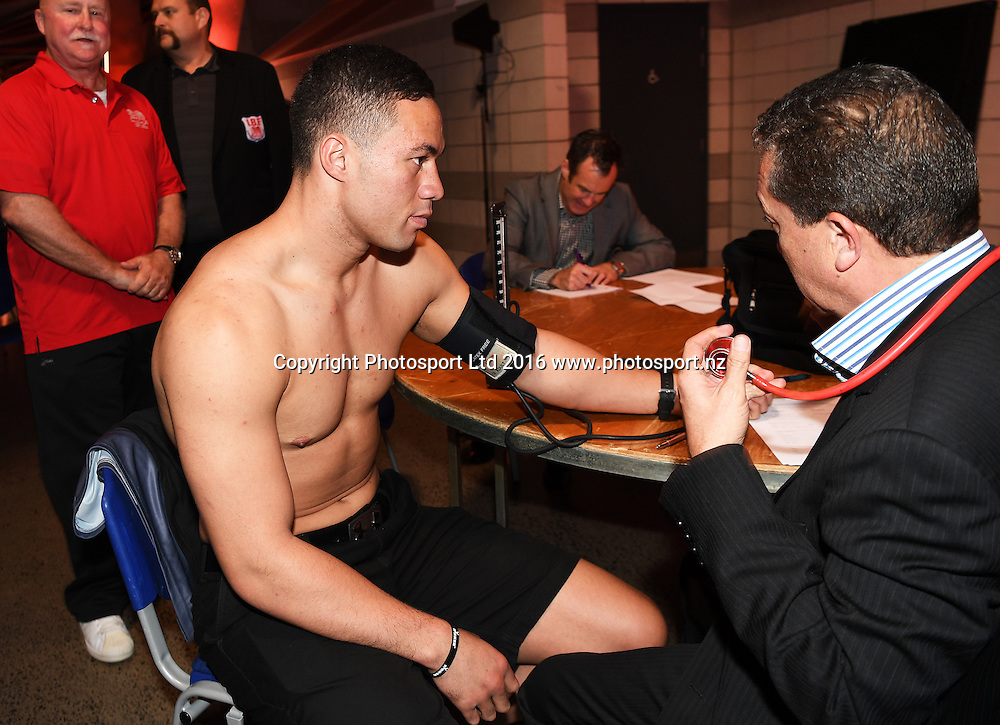 New Zealand Heavyweight boxer Joseph Parker has his blood pressure checked by Doctor Dave Renata. Weigh-In. IBF eliminator. Burger King Road to the Title by Duco Boxing. Friday 20 May 2016. Auckland, New Zealand. © Copyright Photo: Andrew Cornaga / www.photosport.nz