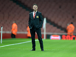 Manchester United Manager, Louis van Gaal on the Emirates pitch prior to kick off. - Photo mandatory by-line: Alex James/JMP - Mobile: 07966 386802 - 22/11/2014 - Sport - Football - London - Emirates Stadium - Arsenal v Manchester United - Barclays Premier League