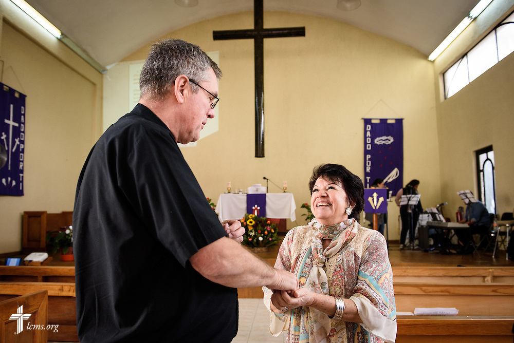 The Rev. Daniel Conrad, LCMS missionary to Mexico, greets worshippers before service at the Lutheran Church of San Pedro on Sunday, Feb. 14, 2016, in Mexico City, Mexico. LCMS Communications/Erik M. Lunsford