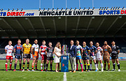 Picture by Allan McKenzie/SWpix.com - 14/05/2018 - Rugby League - Dacia Magic Weekend 2018 Preview - St James Park, Newcastle, England - Super League team representatives (l-r) - Chris Atkin, Tom Johnstone, Luke Burgess, Jesse Sene-Lefao, Geroge Williams, Danny Walker, Tommy Makinson, Tyrone Roberts, Richie Myler, Paul Aiton, Sebastine Ikahihifo, Mark Minichiello with Cllr Kim McGuinness.