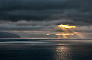 Cook Strait between the North and South islands of New Zealand.
