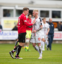 Dunfermline's Lee Ashcroftat argues with Falkirk's Craig Sibbald at the end. Dunfermline 1 v 2 Falkirk, Scottish Championship game played 22/4/2017 at Dunfermline's home ground, East End Park.