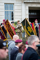 Standards are lowered during the two minutes silence during the Remembrance Sunday service in Barnsley South Yorkshire <br /> <br />  08 October 2015<br />  Copyright Paul David Drabble<br />  www.pauldaviddrabble.co.uk