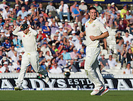Bowler Mitchell Marsh of Australia celebrates taking the wicket of Stuart Broad of England during the 5th Investec Ashes Test Match match at the Kia Oval, London<br /> Picture by Alan Stanford/Focus Images Ltd +44 7915 056117<br /> 21/08/2015