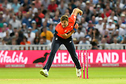 Liam Plunkett of England bowling during the International T20 match between England and Australia at Edgbaston, Birmingham, United Kingdom on 27 June 2018. Picture by Graham Hunt.