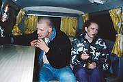 Lesley and friend in Volkswagen camper van. UK, 1980s.