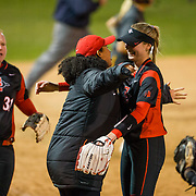 02 March 2018: San Diego State softball hosts Minnesota on day two of the San Diego Classic I at Aztec Softball Stadium. San Diego State relief pitcher Alex Formby (19) is congratulated by teammates after closing out the game and giving the Aztecs a 6-2 win over the #21/20 Gophers.<br /> More game action at sdsuaztecphotos.com