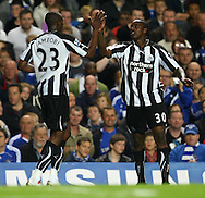 London - Wednesday September 22nd 2010: Nile Ranger of Newcastle scores his sides equalising goal and celebrates with Shola Ameobi during the Carling Cup 3rd Round match at Stamford Bridge, London. (Pic by Paul Chesterton/Focus Images)
