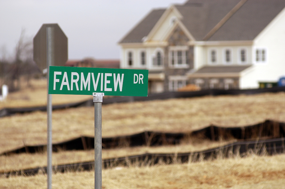 Suburban sprawl development near farms, Fallston Maryland USA