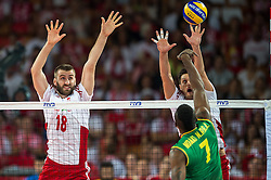 06.09.2014, Jahrhunderthalle, Breslau, POL, FIVB WM, Kamerun vs Polen, Gruppe A, im Bild Marcin Mozdzonek poland #18 Michal Winiarski poland #2 Jean Patrice Ndaki Mboulet cameroon #7 // Marcin Mozdzonek poland #18 Michal Winiarski poland #2 Jean Patrice Ndaki Mboulet cameroon #7 // during the FIVB Volleyball Men's World Championships Pool A Match beween Cameroon and Poland at the Jahrhunderthalle in Breslau, Poland on 2014/09/06. EXPA Pictures © 2014, PhotoCredit: EXPA/ Newspix/ Sebastian Borowski<br /> <br /> *****ATTENTION - for AUT, SLO, CRO, SRB, BIH, MAZ, TUR, SUI, SWE only*****