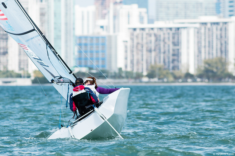 MIAMI - January 29, 2015.  The Skud 18 in the Paralympic class has a skiff's profile and twin rudders.  The helmsman is strapped into a swivel seat and controls the boat with twin joysticks.  Pictured here:  a member of the US Paralympic Sailing Team at the 2015 ISAF Sailing World Cup in Miami.
