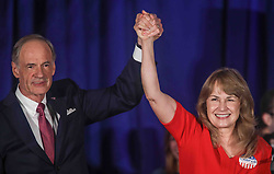 November 6, 2018 - Wilmington, Delaware, United States of America - Incumbent Democrat TOM CARPER and his MARTHA CARPER greet supporters during Democrat Watch Party Tuesday, Nov. 06, 2018, at the Doubletree Hotel in Wilmington, Delaware. (Credit Image: © Saquan Stimpson/ZUMA Wire)