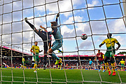 Callum Wilson (13) of AFC Bournemouth challenges for the ball with Tim Krul (1) of Norwich City in the goal mouth during the Premier League match between Bournemouth and Norwich City at the Vitality Stadium, Bournemouth, England on 19 October 2019.