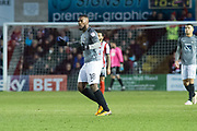 Coventry City Forward Duckens Nazon gestures towards the Coventry fans as Coventry City Midfielder Jodi Jones makes it 1-1 during the EFL Sky Bet League 2 match between Lincoln City and Coventry City at Sincil Bank, Lincoln, United Kingdom on 18 November 2017. Photo by Craig Zadoroznyj.