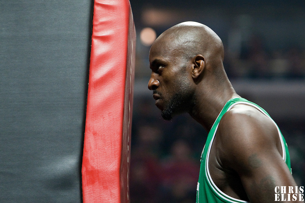 12 December 2009: Boston Celtics forward Kevin Garnett is seen prior to the Boston Celtics 106-80 win over the Chicago Bulls at the United Center, in Chicago, Illinois, USA.
