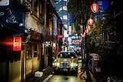 Tokyo, July 2012 - Taxi in the narrow Nonbei Yokocho, Shibuya