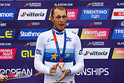Podium Men Road Race 230,4 km, Matteo Trentin (Italy ITA) gold medal, during the Cycling European Championships Glasgow 2018, in Glasgow City Centre and metropolitan areas, Great Britain, Day 11, on August 12, 2018 - Photo Luca Bettini / BettiniPhoto / ProSportsImages / DPPI - Belgium out, Spain out, Italy out, Netherlands out -