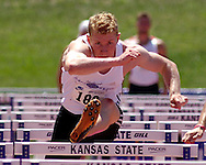 Germany's Arthur Abele wins the 110-meter hurdles and finished first in overall points in the decathlon, at the Nike Combined Events Challenge at the R.V. Christian Track Complex on the campus of Kansas State University in Manhattan, Kansas, August 6, 2006.