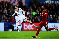 George Byers of Swansea City has a shot on goal  - Mandatory by-line: Ryan Hiscott/JMP - 29/11/2019 - FOOTBALL - Liberty Stadium - Swansea, England - Swansea City v Fulham - Sky Bet Championship