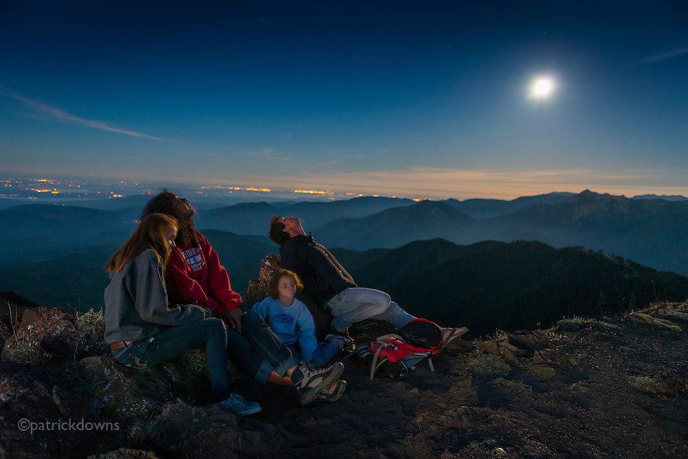 Watching the supermoon, the Perseids, and the Space Station orbiting past, on top of Blue Mountain, Olympic National Park. An amazing place... you can see a 270+ degree view for 120 miles or more, from Bellingham to the east to the west side of Vancouver Island, and up the Strait of Georgia in Canada. To the south/southwest there's a 120 degree panorama of the Olympic Mountains. Only  a 360 panorama photo can try to capture it. It must be among the top 10 views in N. America.