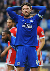 Sean Morrison of Cardiff City reacts after missing a chance to score a goal - Mandatory by-line: Nizaam Jones/JMP - 17/02/2018 -  FOOTBALL - Cardiff City Stadium - Cardiff, Wales -  Cardiff City v Middlesbrough - Sky Bet Championship
