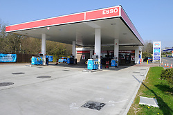© Licensed to London News Pictures. 30/03/2012. An empty forecourt at an Esso petrol station in Hastings, East Sussex, which has closed because it has no fuel on MArch 30, 2012. Photo credit : Grant Falvey/LNP