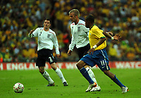 Photo: Tony Oudot.<br /> England v Brazil. International Friendly. 01/06/2007.<br /> David Beckham of England goes past Robinho of Brazil