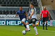 Tom Lawrence of Derby County in action during the EFL Sky Bet Championship match between Derby County and Brentford at the Pride Park, Derby, England on 11 July 2020.
